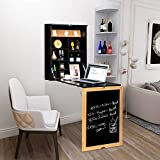 VINGLI 3 in 1 Wall-Mounted Floating Desk Table w/Solid Wood Frame Chalkboard, Foldable Space-Saving Convertible Computer Desk Laptop Workstation Home Office Writing Desk (Black)