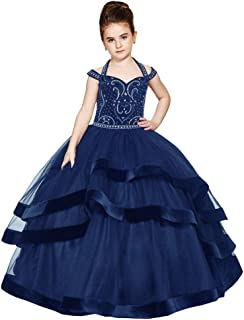Girl's Halter Cold Shoulder Girls Pageant Dresses Crystal Bead Tulle Layers Birthday Party Dress