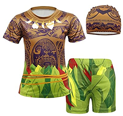 AmzBarley Little Boys Swimsuits 3 Piece Swimwear Bathing Suit Swim Sets with Hat Pool Party Beach Toddler Kids Swimming Clothes Age 1-2 Years Size 3T