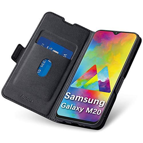 Aunote Samsung Galaxy M20 Hülle, Samsung M20 Schutzhülle mit Kartenfach, HandyHülle Tasche, Leder Etui Folio, Flip Cover Hülle, PU TPU Klapphülle Komplettschutz Samsung M20 Phone 6.0 Zoll. Schwarz