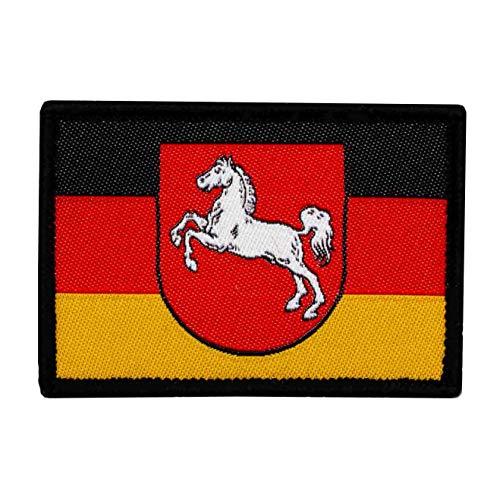 Café Viereck ® Bundesland Patch Niedersachsen Flagge Gewebt mit Klett - 6 cm x 3,7 cm