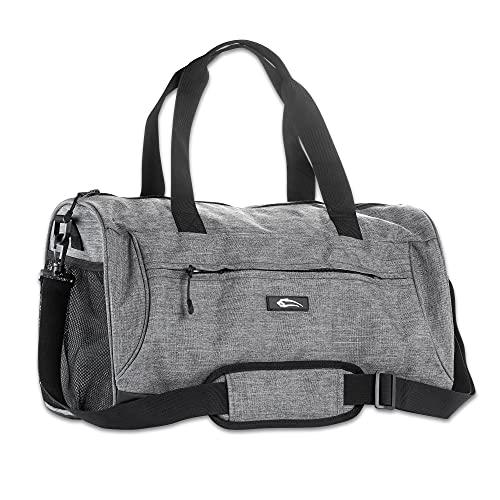 SMILODOX Premium Sports Bag - Fitness & Travel   Bolsa de entrenamiento con muchos compartimentos que transportan correa y correa de hombro bolsa de deportes, Color:canoso