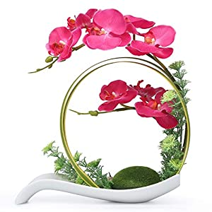 NNEE Artificial Phalaenopsis Orchid/Silk Flower Arrangement with Decorative Flower Pot – Red Orchild A323