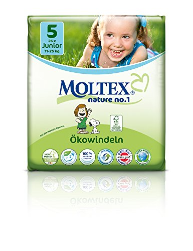 Moltex Nature No1 Lot de 4 paquets de 26 couches écologiques pour bébé Taille 5 (11-25 kg)