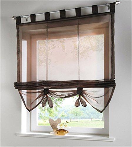 SIMPVALE Raffrollo mit Schlaufen Gardinen Voile römischen Liter Fall Schatten Transparent Vorhang für Balkon und Küche, Kaffee, 140cm (Breite) x155cm (Höhe)