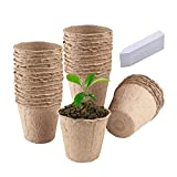 Semilleros De Germinacion Biodegradables, Germinador De Semillas, Semilleros Huerto Invernadero Pequeño Bandejas para Semilleros Terraza Set Jardineria (B-Redondo, 30pc)
