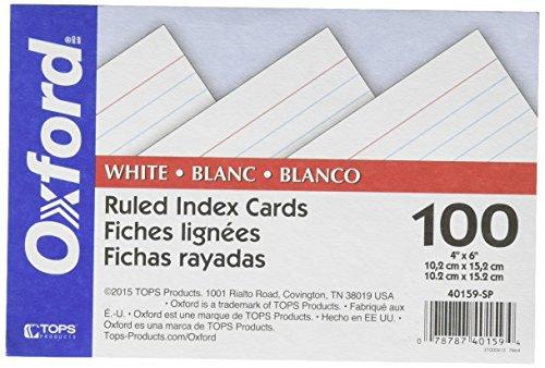 Oxford 40159-SP Karteikarten, liniert, 10 x 15 cm, Weiß, 100 Stück