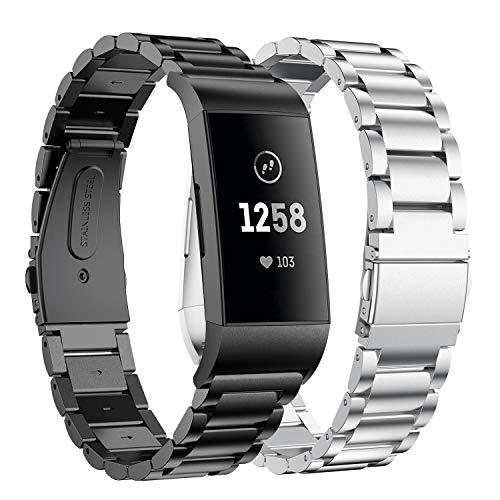 Supore Compatible con Fitbit Charge 3 Correa/Fitbit Charge 4 Correa, Correa de Ajustable Acero Inoxidable, Pulsera para Fitbit Charge3 / Charge 4 de Reemplazo Wristband Pulseras (Negro + Plata)