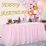 Falda de Mesa Tul Rosa Faldas de Mesa Rosa Faldones de Mesa Tutú para baby shower niña, baby shower, boda, cumpleaños, fiesta de cumpleaños infantil