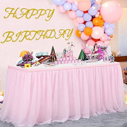 NSSONBEN Tüll Tischrock Rosa Tütü Tischröcke FürBabyparty, Baby Shower Mädchen, Hochzeit, Geburtstag, Kindergeburtstag(L183cm * H77cm)
