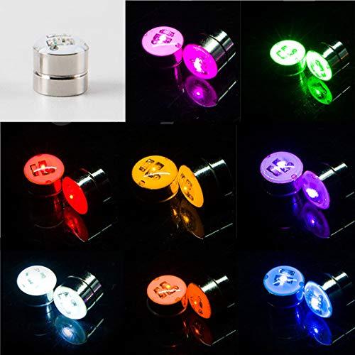 KERDEJAR Red Led Flashing Magnetic Earring,9 Colors Magnetic Light Up LED Flashing Blinking Shining Earrings Led No Piercing Ear Studs Kit Party Shiny Jewelry
