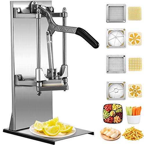 VEVOR Commercial French Fry Cutter with 4 Replacement Blades, 1/4″ and 3/8″ Blade Easy Dicer Chopper, 6-wedge Slicer and 6-wedge Apple Corer, Lemon Potato Cutter for French Fries with Extended Handle