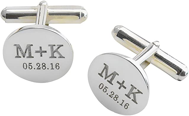 Monogrammed cuff links Fianc\u00e9 gift Groom Engraved initials Custom gift Groom gift Engraving Initials jewelry Unique gift Custom letters