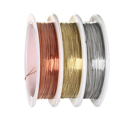 Sicai, 3rotoli di filo metallico, 0,3mm, rotoli di filo di rame, rotolo di filo per gioielli, perline, filo di rame antiossidante