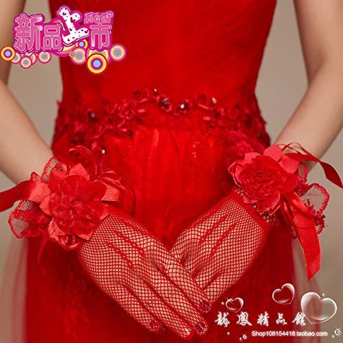 YFC Koreanische Braut Handschuhe weiß Brautkleid kurzen Abschnitt Netto Garn Lotusblatt Finger Hochzeit Handschuhe Hochzeit Hochzeit rot fünf Finger Netto Gaze Blume