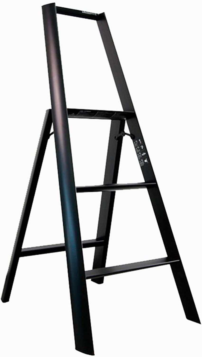 Ladder Stool Three Steps 3-Step Non-slip Folding Household Dual Use Indoor (color   Black)