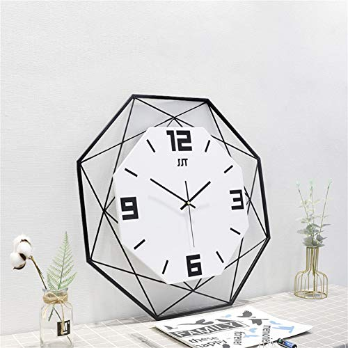 Large Geometry Metal Frame Wooden Wall Clock,Silent Non-Ticking Mute Wall Clocks Modern Decoration,Best Gift for Living Room Bedroom Kitchen Hotel-White. 60cm(24inch)