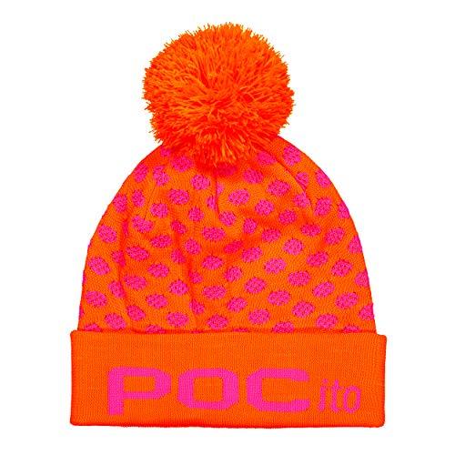 POC Pocito Pom Beanie, Fluorescent Pink/Fluorescent Orange, ONE Size