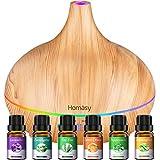 Homasy 500ml Difusor de Aromaterapia con 6 Botellas de Aceite Esencial 100% Puro, Difusor de Aroma Silencioso y Silencioso, 7 Luces LED de Color, sin BPA para el Hogar y la Oficina, Amarillo