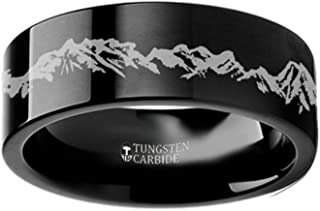 Peaks Mountain Range Outdoors Landscape Ring Flat Black Tungsten Ring 6mm Wide Wedding Band from Roy Rose Jewelry