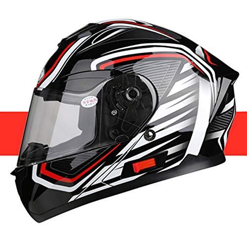 Stella Fella Casco para hombre, casco de motocicleta, con Bluetooth, para coche, eléctrico, para cuatro temporadas, con diseño de personalidad, color blanco y negro