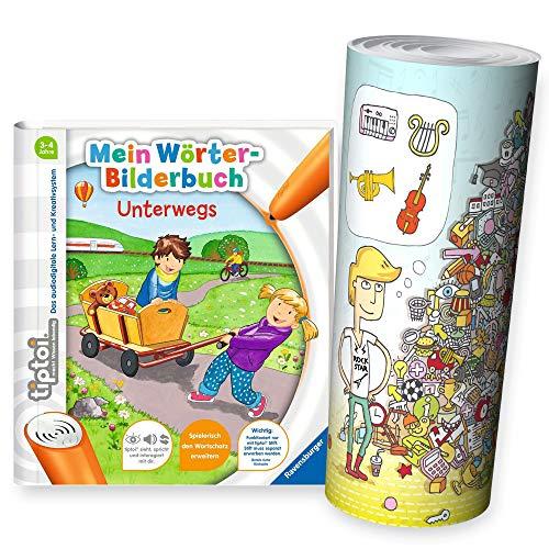 Collectix Ravensburger tiptoi® Einsteiger Buch ab 3 Jahre | Mein Wörter-Bilderbuch: Unterwegs + Kinder Wimmel Such-Bild Poster