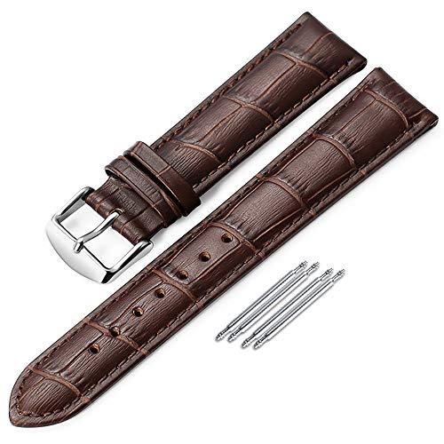 Correa de Piel Reloj iStrap Aligator Grano Replacement Reloj Banda 18 mm 19 mm 20 mm 21 mm 22 mm Plateado Pin Hebilla Suave Pulsera – Negro Marrón