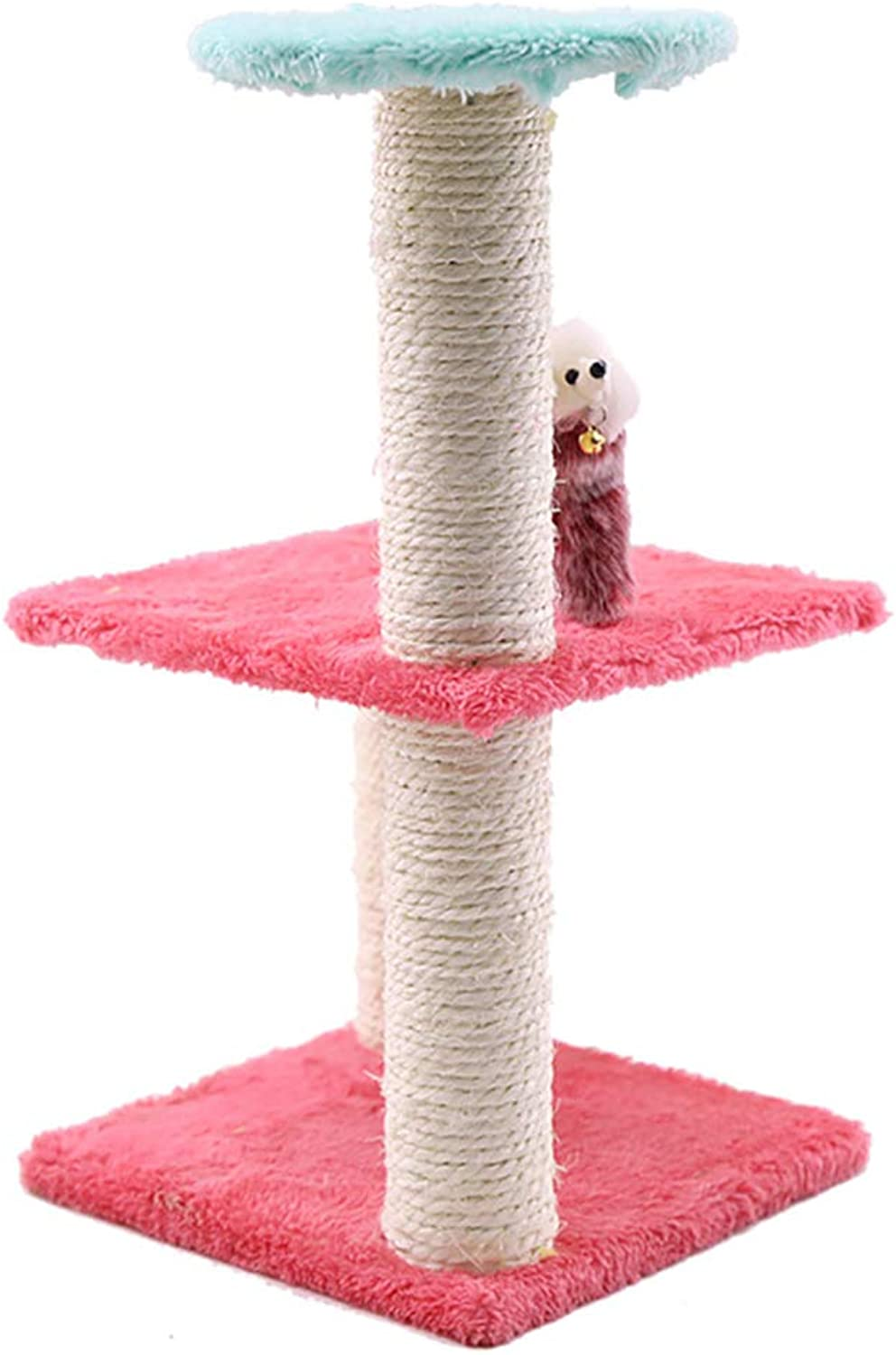 Cat Activity Tree,Kitten Activity Tower ThreeLayer Design Spacious Viewing Deck Sisal Pillar Durable and wear Resistant Bell Rat Toy Fun to The cat