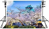 HD日本の風景の背景桜の建物の写真の背景7X5ftをテーマにしたパーティーの写真ブースYouTubeの背景PMT775