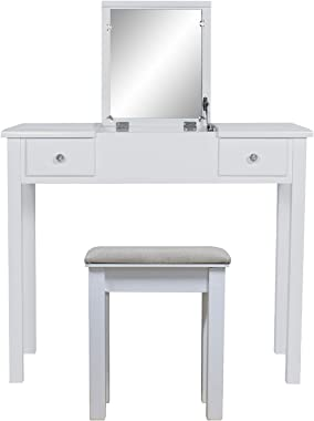 AODAILIHB Vanity Desk with Flip Top Mirror and Tool Set Dressing Table Makeup Desk Large Storage Capacity Work and Study Writ