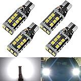 HX-CQHY 921 Led Car Bulbs Canbus No Error T15 Led Bulbs W16W 906 Led 912 Bulbs Upgraded 15-smd 3030 Chip T15 Led Car Bulbs for Backup Reverse Light (4PCS/pack)
