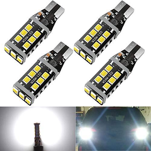 4 PCS HX-CQHY 921 Led Car Bulb Canbus No Error T15 Led Bulbs 912 W16W 906 Led Bulbs Upgraded 15-smd 3030 Chip T15 Led Bulb for Backup Reverse Light