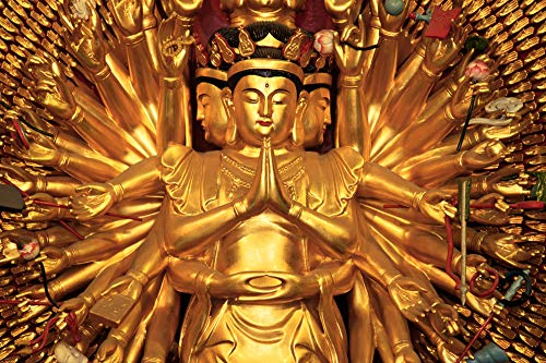 Thousand Hands Golden Buddha - Puzzle 500 Pieces Adult Puzzles Wooden Jigsaw Art DIY Leisure Game Fun Toy Gift Suitable Family Friends