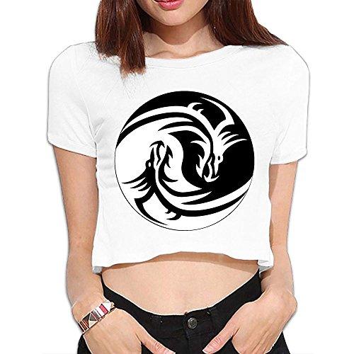 SARA NELL Women's Juniors Yin-yang Dragon Crop Top T-Shirt Tees White