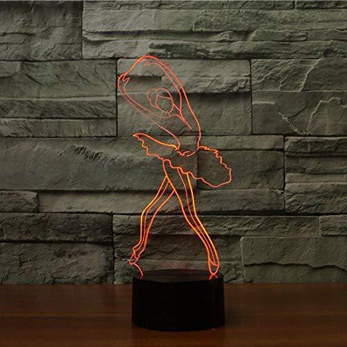 3D illusie lamp LED nachtlicht Optische 3D illusie lampen tafellamp nachtverlichting 7 kleuren aanrakingsschakelaar bureaulamp met USB-kabel kinderen nachtlampje ballerina meisje