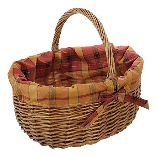 Dekoleidenschaft großer Einkaufskorb aus Weide, mit Karierter Textileinlage, Bügelkorb, Weidenkorb, Picknickkorb
