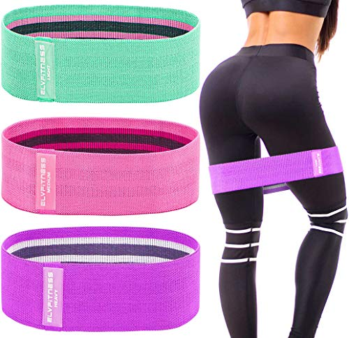 ELV Resistance Bands Set for Women, 3 Level Premium Anti-Slip Fabric Elastic Exercise Bands for Booty Glute Hip Thigh Butt & Legs, Portable Workout Bands for Home / Gym with Carrying Bag