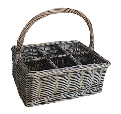 Red Hamper Antique Wash Rectangular 6 Section Cutlery Wicker Basket