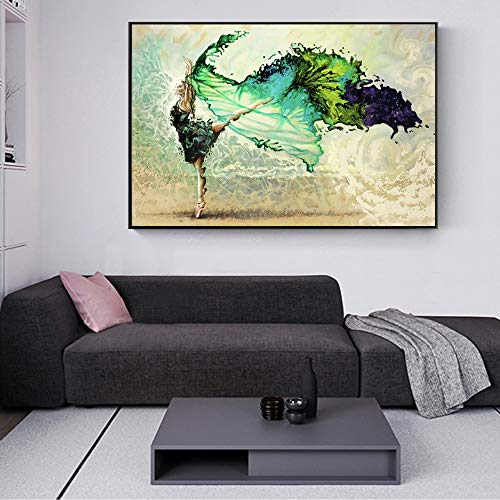 SLQUIET Abstract Dancer Girl Canvas Art Print Ballet Girl Paintings Turquoise Color Posters Impresiones para Sala de Estar Pintura de Pared sin Marco 70x100cm