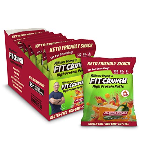 Fit Crunch Low Carb Protein Puffs, Keto-Friendly High Protein Puff Snack, Low Sugar, NON-GMO, Gluten Free & 20g of Protein (8 Bags, Jalapeno Cheddar) from FITCRUNCH