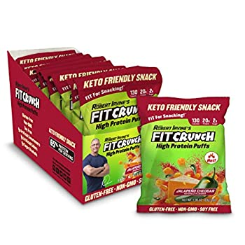 Fit Crunch Low Carb Protein Puffs Keto-Friendly High Protein Puff Snack Low Sugar NON-GMO Gluten Free & 20g of Protein  8 Bags Jalapeno Cheddar