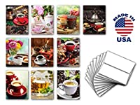 COFFEE & TEA note card set of 10. Blank inside. Variety pack of cards with cozy coffee and tea theme. Made in USA. [並行輸入品]