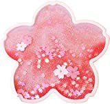 Sakura Coasters, Cherry Blossom Quicksand Flash Coaster Cute Quicksand Glitter Drink Coasters Non-Slip Insulation Coasters for Home Decor Sakura,Gift for Women Kids Wife Girlfriend (Pink)