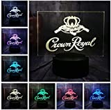 Lámpara de ilusión de luz nocturna 3D Crown Royal Logo Whisky Whisky Wine Table Desk Lamp Home Room Office Decor New Year Xmas Christmas Gift