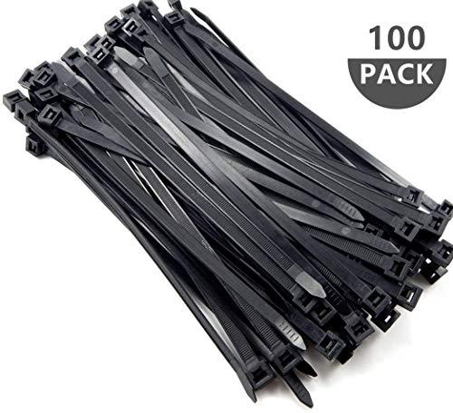 Kabelbinder 400 mm x 7,6 mm, 100 Stück UV-Beständig ultra starke Kabelbinder mit 50 kg Zugfestigkeit, Hitzebeständig, Langlebig(Schwarz)