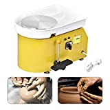 Mein LAY Pottery Wheel Forming Machine 25CM Electric Pottery Wheel DIY Machine with Foot Pedal for Ceramic Work Clay Art Craft 110V 350W (Yellow)