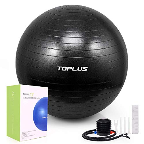 TOPLUS Exercise Ball (Multiple Sizes) Thick Yoga Ball Chair for Fitness, Stability, Balance, Pilates, Birthing - Anti Burst Supports 2200lbs - Includes Quick Pump & Professional Guide