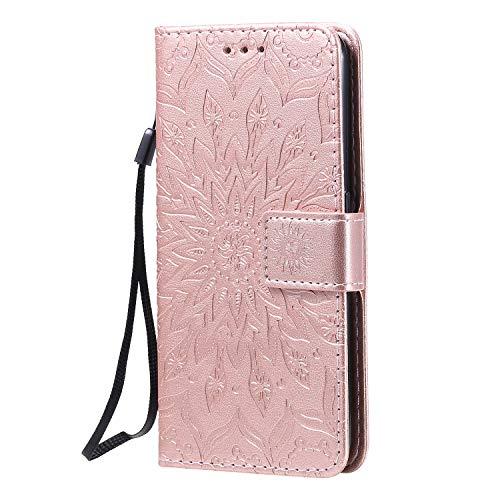 KKEIKO Hülle für Galaxy J4 Core, PU Leder Brieftasche Schutzhülle Klapphülle, Sun Blumen Design Stoßfest HandyHülle für Samsung Galaxy J4 Core - Roségold