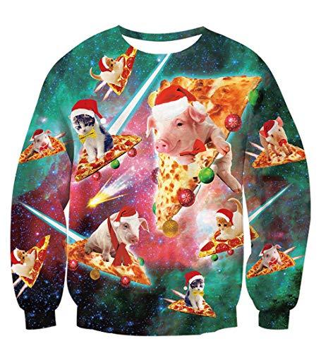 TUONROAD Christmas Sweater Unisex Ugly Pizza Cat 3D Druck Weihnachten Pullover Herren Komfortabel Hässliche Weihnachtspullover Langarmshirt Rundhals Xmas Sweatshirt Jumper - M