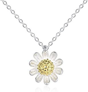 925 Sterling Silver Daisy Flower Pendant Choker Necklace 16'' for Women Girls, Jewelry Gifts